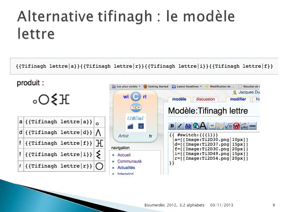 Alternative tifinagh : le modèle lettre