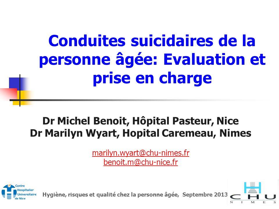 Conduites suicidaires de la personne âgée: Evaluation et prise en charge