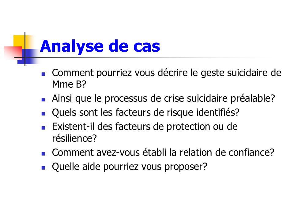 Analyse de cas Comment pourriez vous décrire le geste suicidaire de Mme B Ainsi que le processus de crise suicidaire préalable