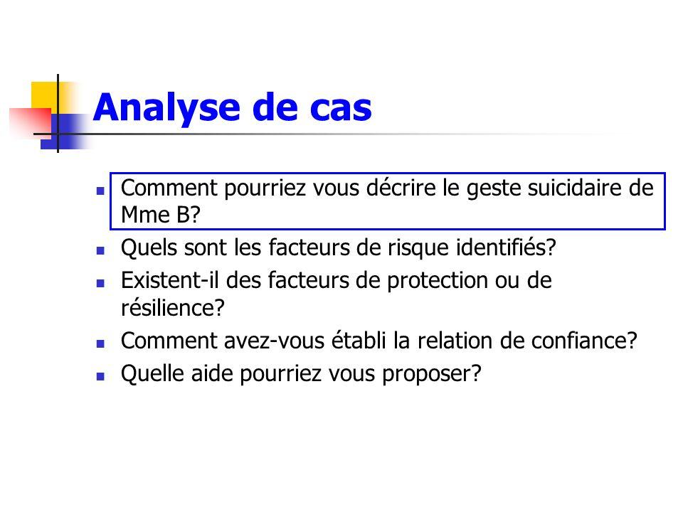 Analyse de cas Comment pourriez vous décrire le geste suicidaire de Mme B Quels sont les facteurs de risque identifiés