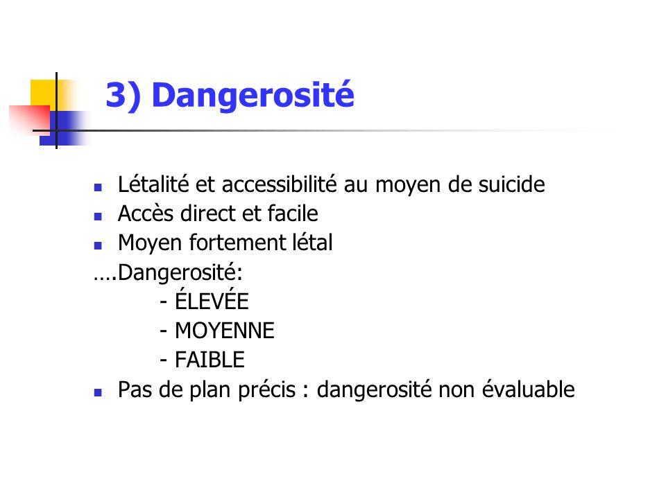 3) Dangerosité Létalité et accessibilité au moyen de suicide