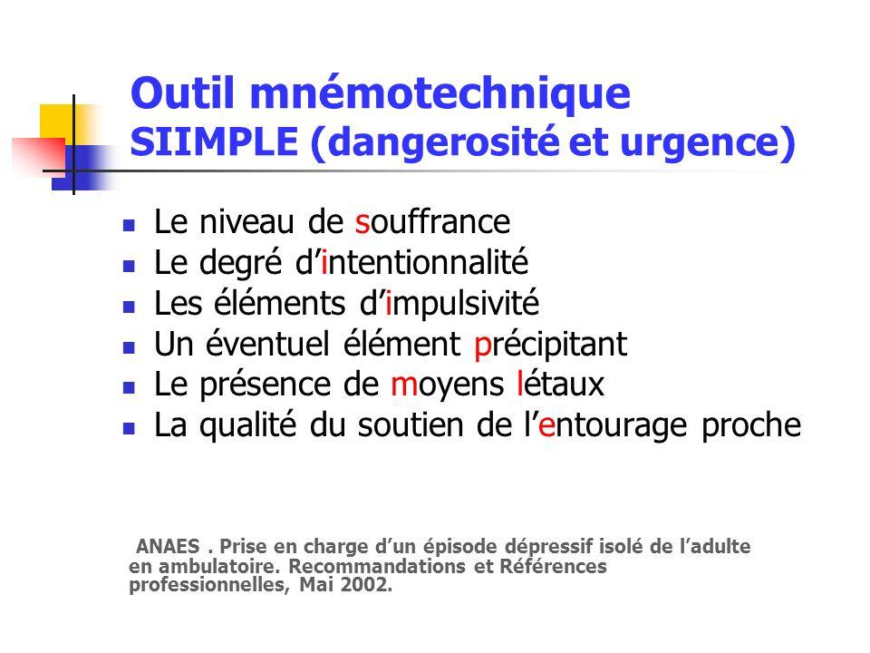 Outil mnémotechnique SIIMPLE (dangerosité et urgence)