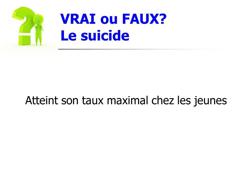 VRAI ou FAUX Le suicide Atteint son taux maximal chez les jeunes