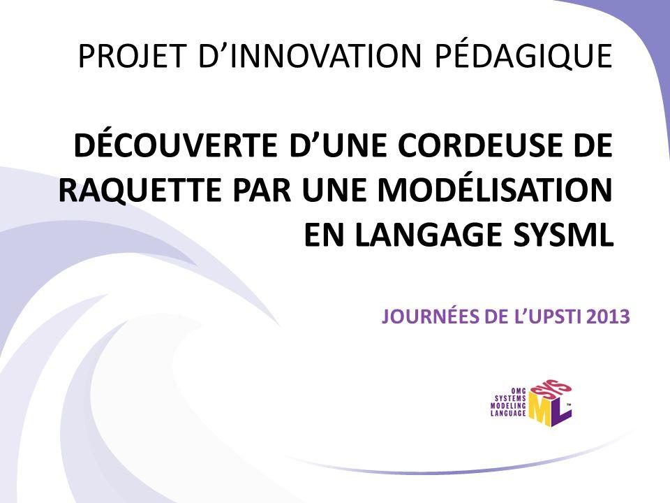 PROJET D'INNOVATION PÉDAGIQUE DÉCOUVERTE D'UNE CORDEUSE DE RAQUETTE PAR UNE MODÉLISATION EN LANGAGE SYSML