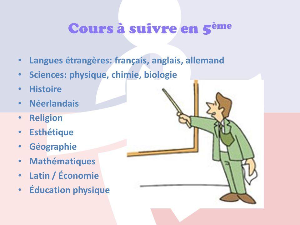 Cours à suivre en 5ème Langues étrangères: français, anglais, allemand