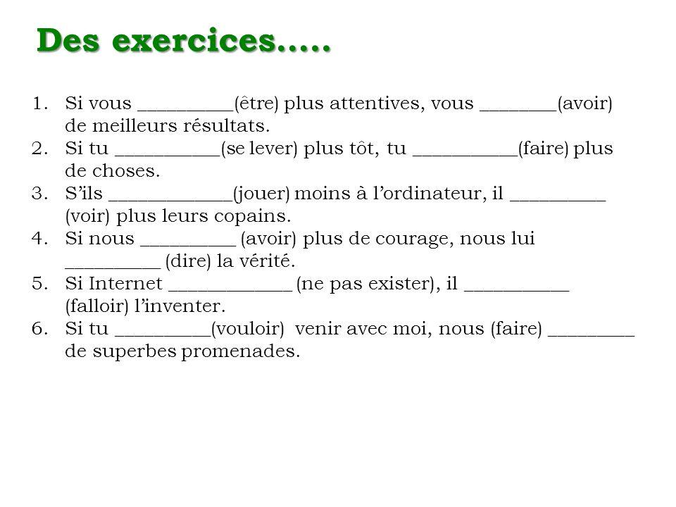 Des exercices….. Si vous __________(être) plus attentives, vous ________(avoir) de meilleurs résultats.