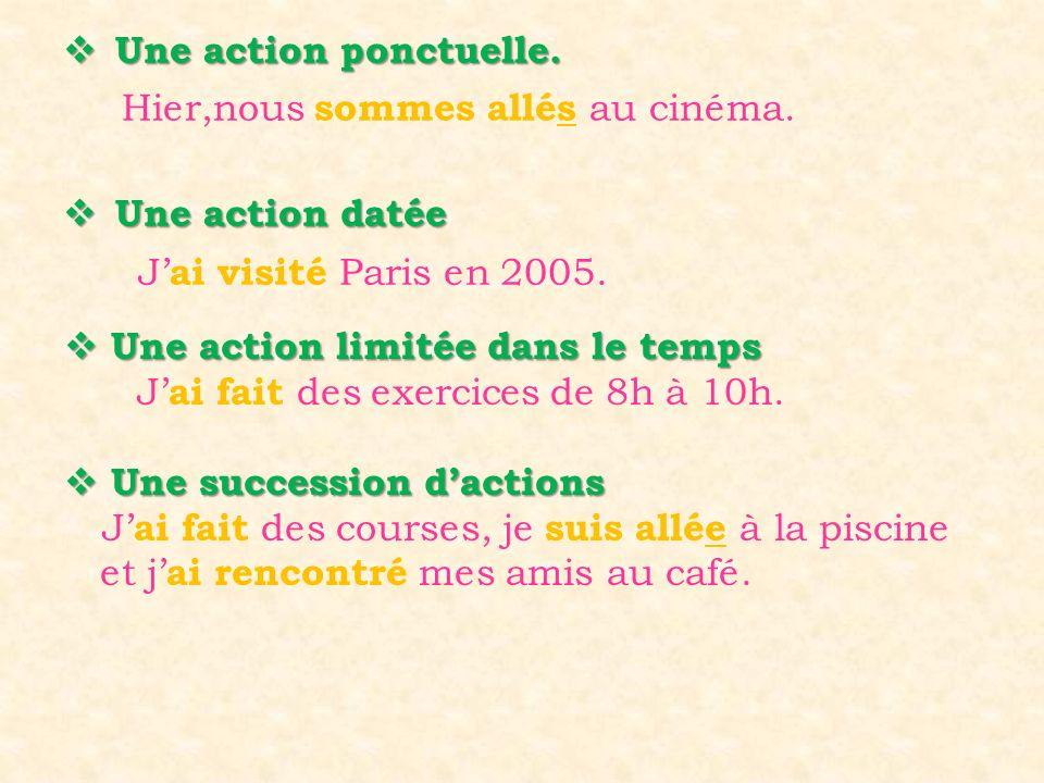 Une action ponctuelle. Une action datée. Hier,nous sommes allés au cinéma. J'ai visité Paris en 2005.