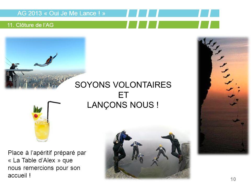SOYONS VOLONTAIRES ET LANÇONS NOUS ! AG 2013 « Oui Je Me Lance ! »