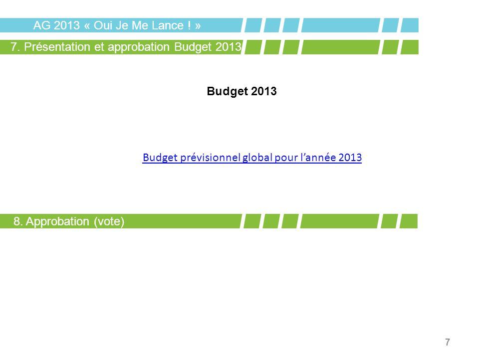 AG 2013 « Oui Je Me Lance ! » 7. Présentation et approbation Budget 2013. Budget 2013. Budget prévisionnel global pour l'année 2013.