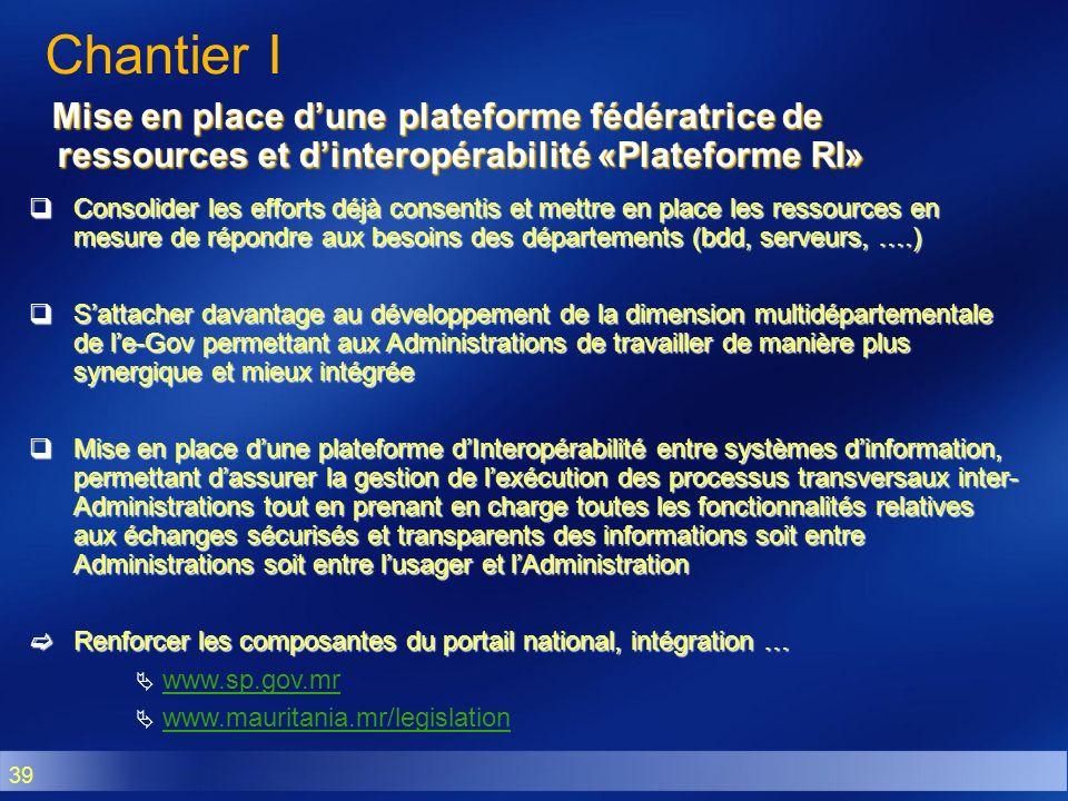 Chantier I Mise en place d'une plateforme fédératrice de ressources et d'interopérabilité «Plateforme RI»