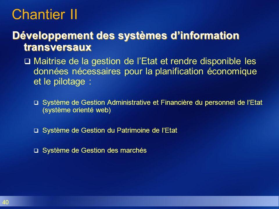Chantier II Développement des systèmes d'information transversaux