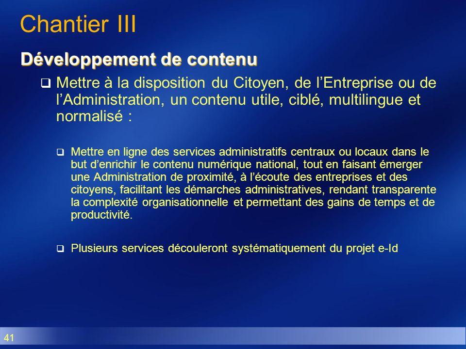 Chantier III Développement de contenu