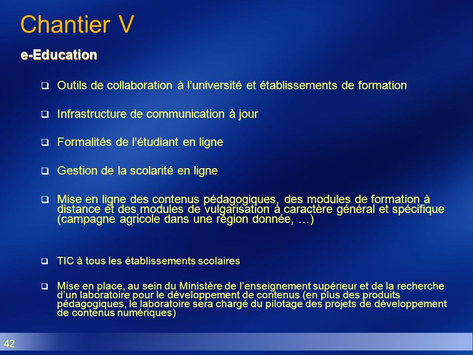 Chantier V e-Education
