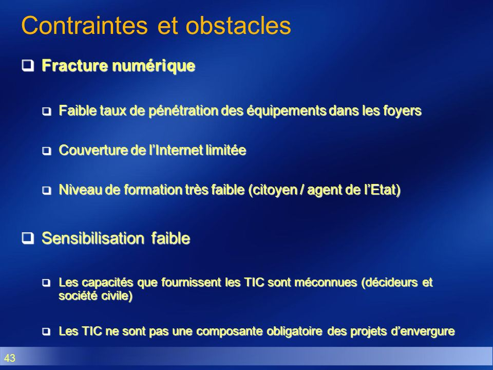 Contraintes et obstacles