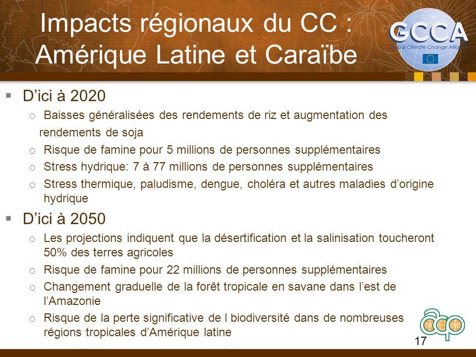 Impacts régionaux du CC : Amérique Latine et Caraïbe