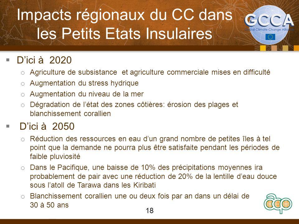 Impacts régionaux du CC dans les Petits Etats Insulaires