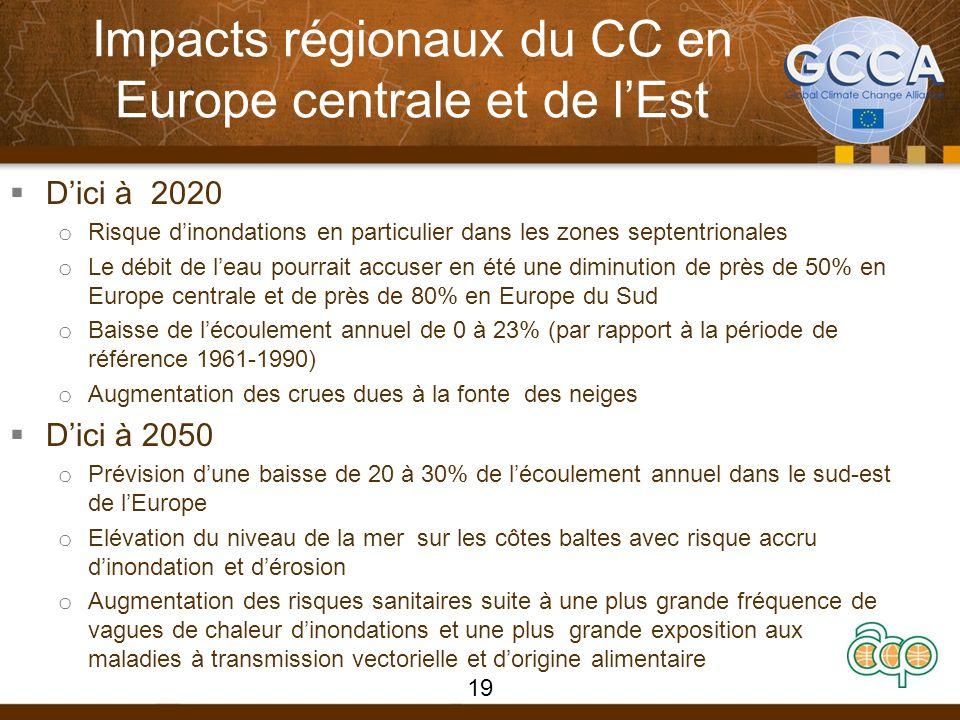 Impacts régionaux du CC en Europe centrale et de l'Est