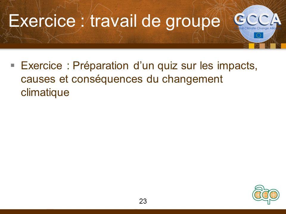 Exercice : travail de groupe