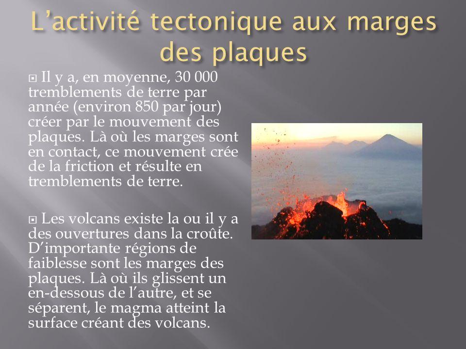 L'activité tectonique aux marges des plaques