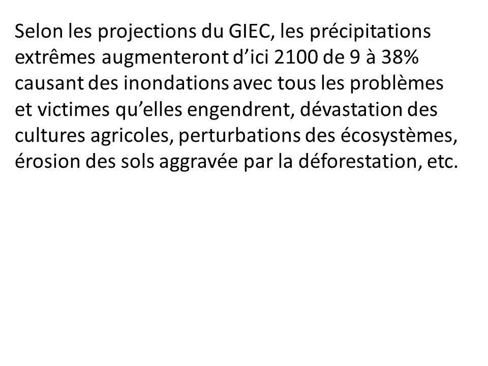 Selon les projections du GIEC, les précipitations extrêmes augmenteront d'ici 2100 de 9 à 38% causant des inondations avec tous les problèmes et victimes qu'elles engendrent, dévastation des cultures agricoles, perturbations des écosystèmes, érosion des sols aggravée par la déforestation, etc.