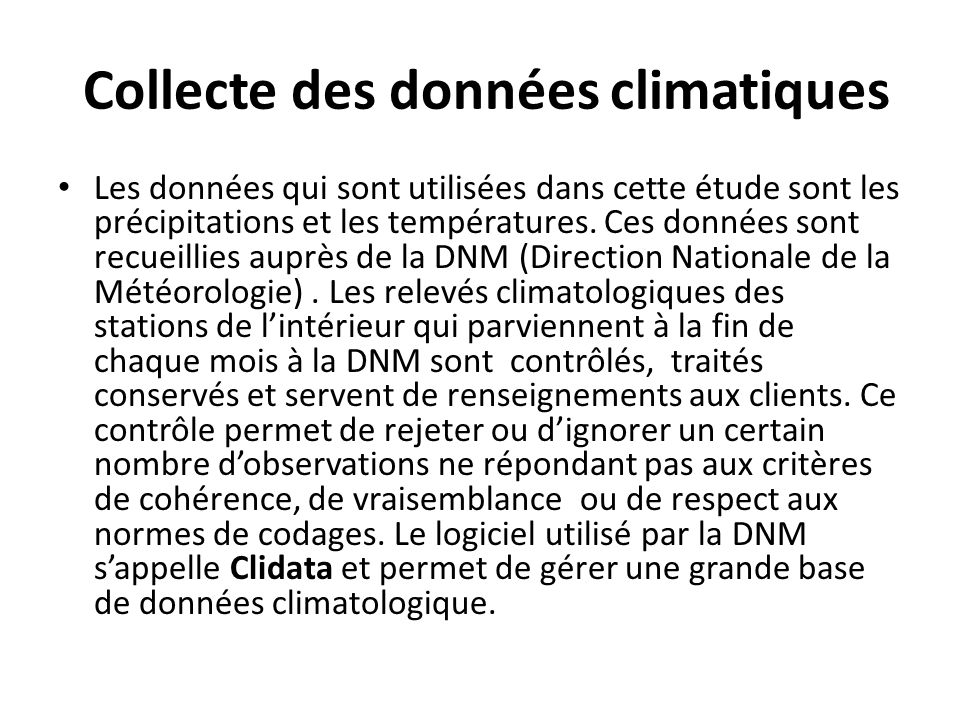 Collecte des données climatiques