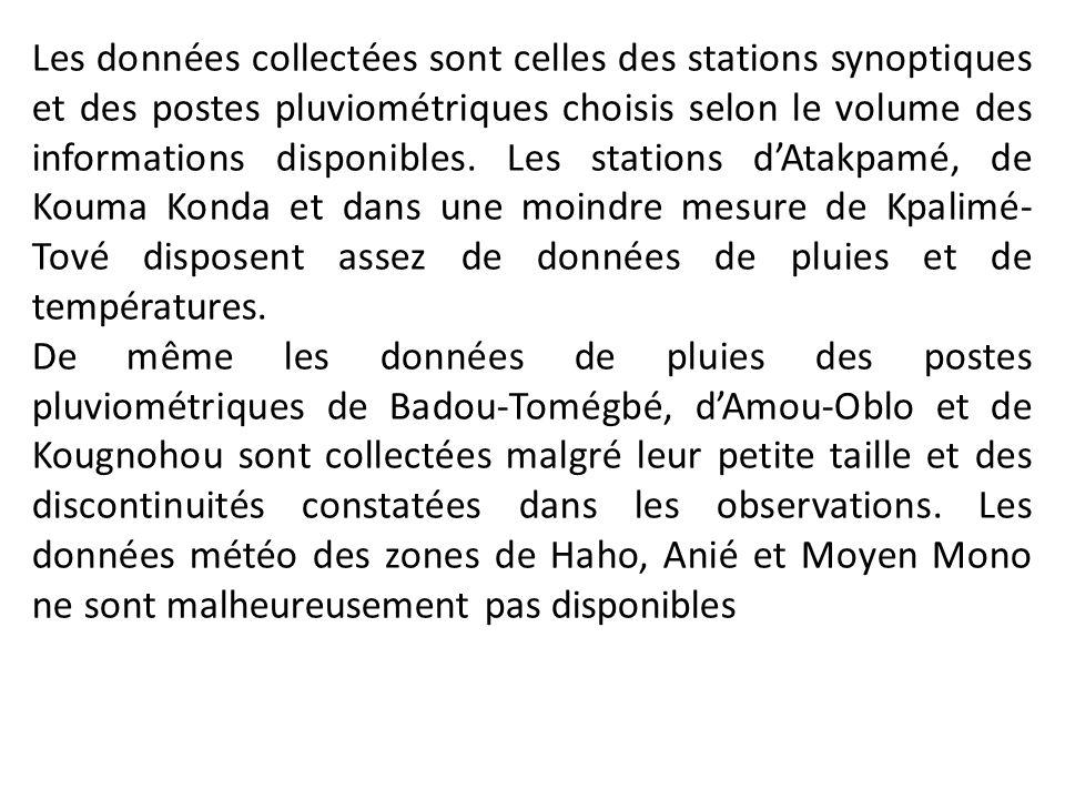 Les données collectées sont celles des stations synoptiques et des postes pluviométriques choisis selon le volume des informations disponibles. Les stations d'Atakpamé, de Kouma Konda et dans une moindre mesure de Kpalimé-Tové disposent assez de données de pluies et de températures.
