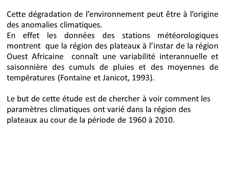 Cette dégradation de l'environnement peut être à l'origine des anomalies climatiques.