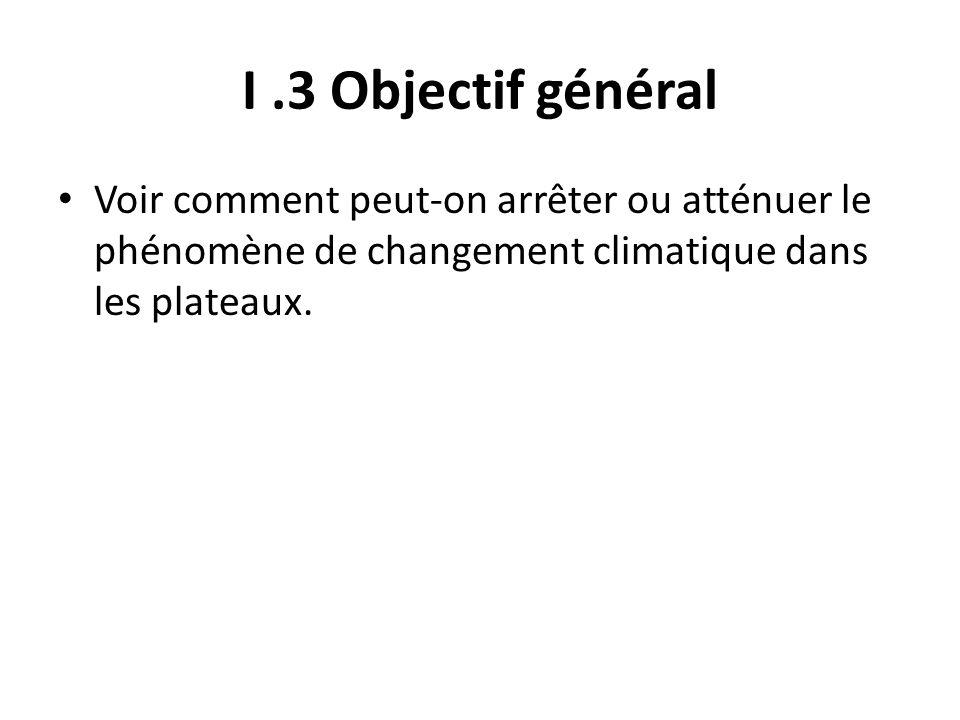 I .3 Objectif général Voir comment peut-on arrêter ou atténuer le phénomène de changement climatique dans les plateaux.