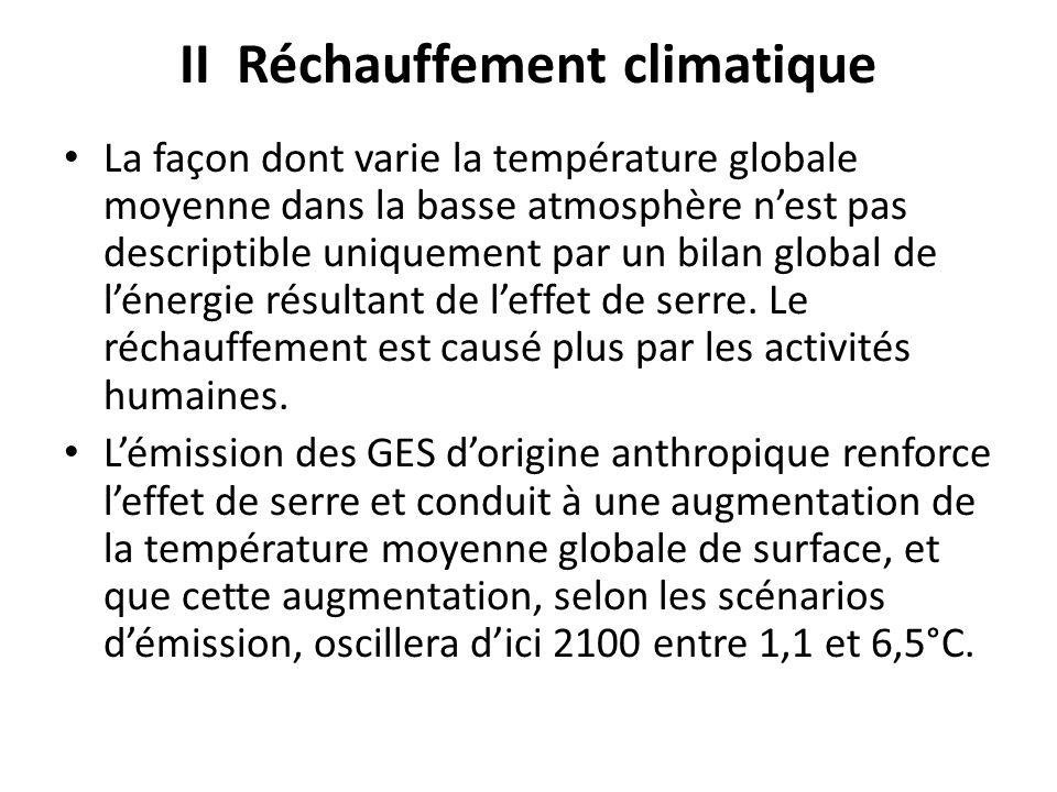 II Réchauffement climatique