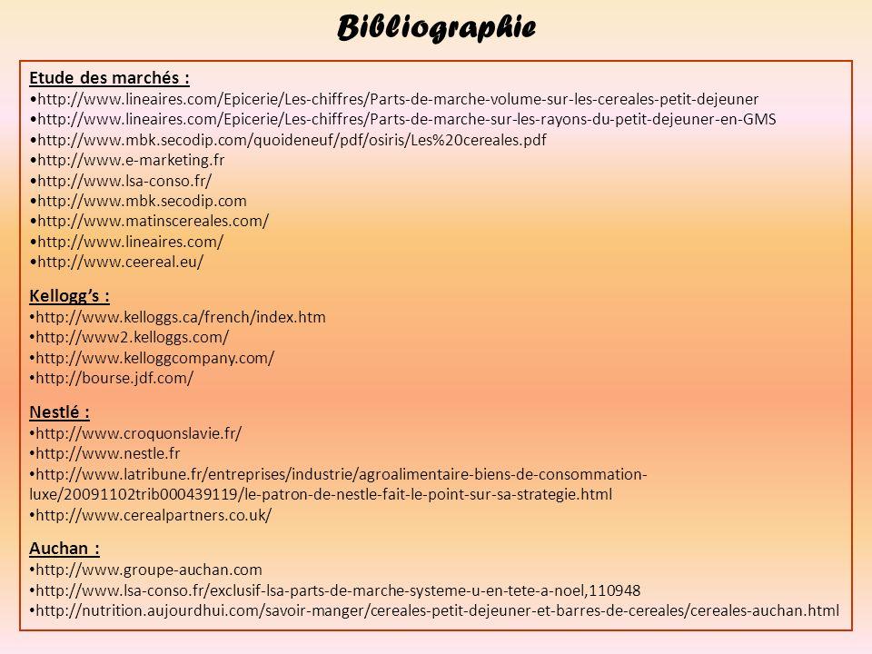 Bibliographie Etude des marchés : Kellogg's : Nestlé : Auchan :