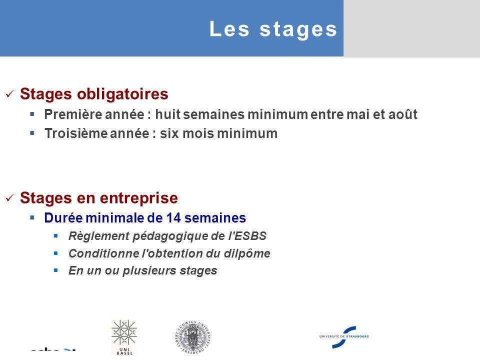 Les stages Stages obligatoires Stages en entreprise