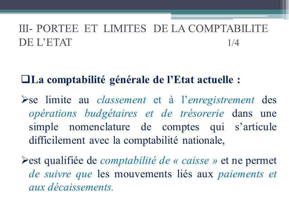 III- PORTEE ET LIMITES DE LA COMPTABILITE DE L'ETAT 1/4