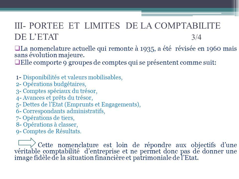 III- PORTEE ET LIMITES DE LA COMPTABILITE DE L'ETAT 3/4