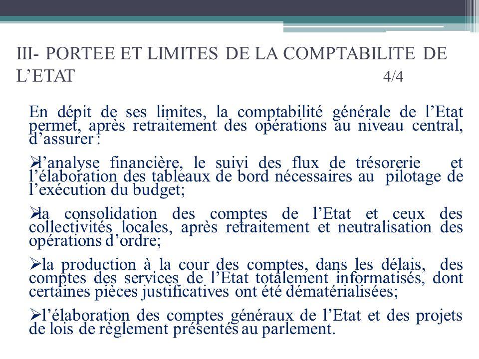III- PORTEE ET LIMITES DE LA COMPTABILITE DE L'ETAT 4/4