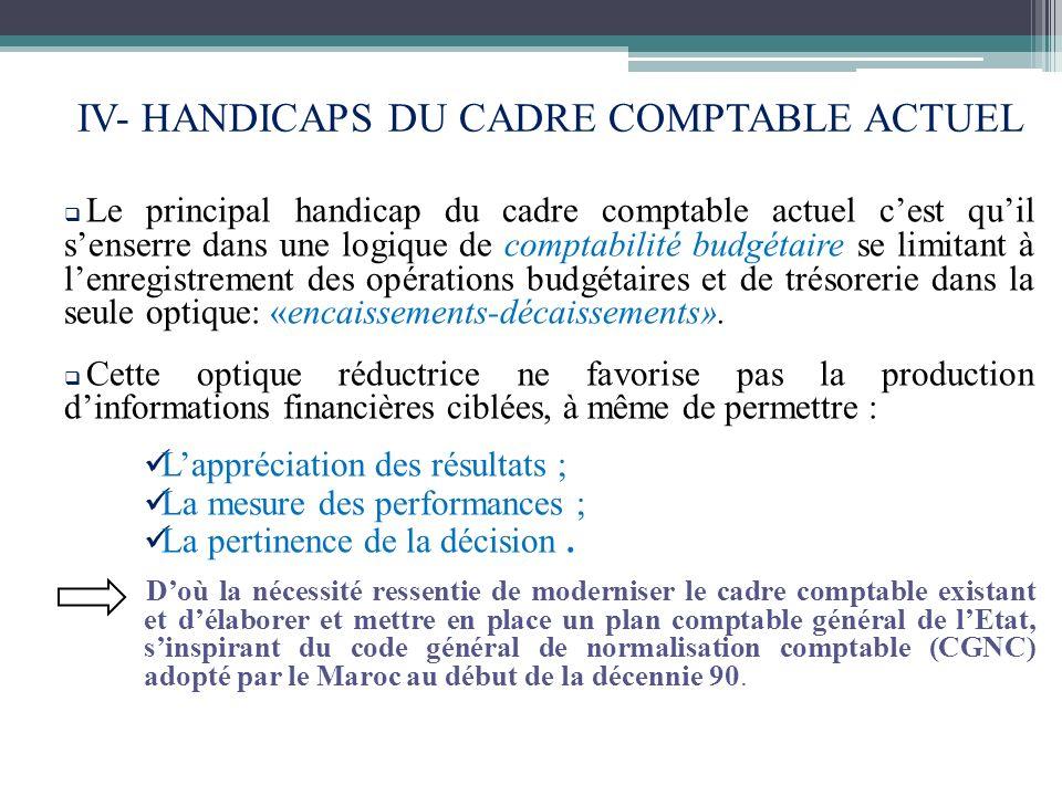 IV- HANDICAPS DU CADRE COMPTABLE ACTUEL
