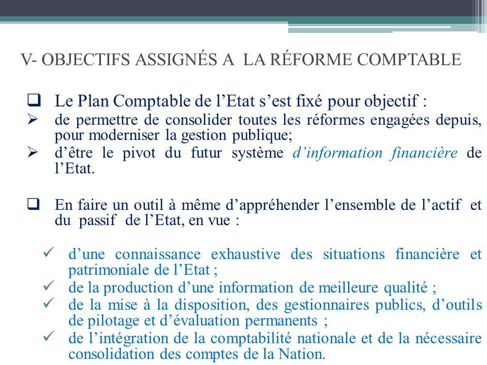 V- OBJECTIFS ASSIGNÉS A LA RÉFORME COMPTABLE