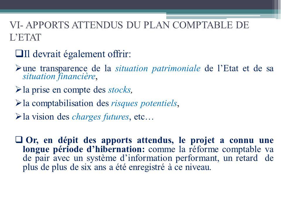 VI- APPORTS ATTENDUS DU PLAN COMPTABLE DE L'ETAT