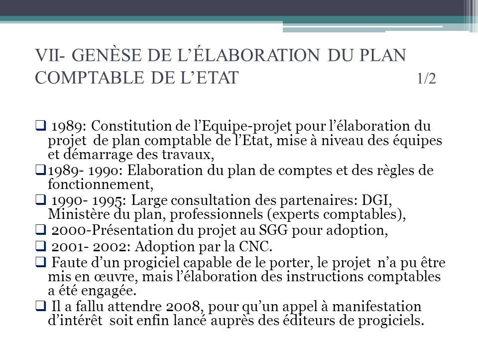 VII- GENÈSE DE L'ÉLABORATION DU PLAN COMPTABLE DE L'ETAT 1/2