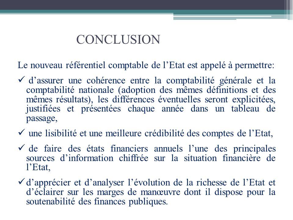 CONCLUSION Le nouveau référentiel comptable de l'Etat est appelé à permettre:
