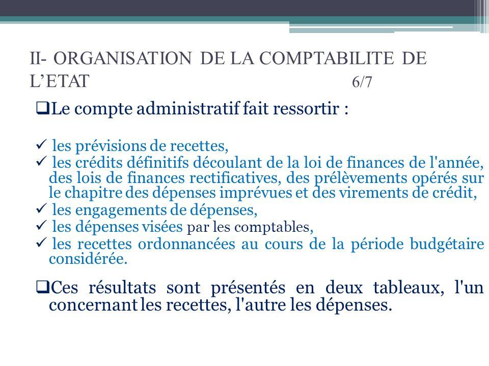 II- ORGANISATION DE LA COMPTABILITE DE L'ETAT 6/7