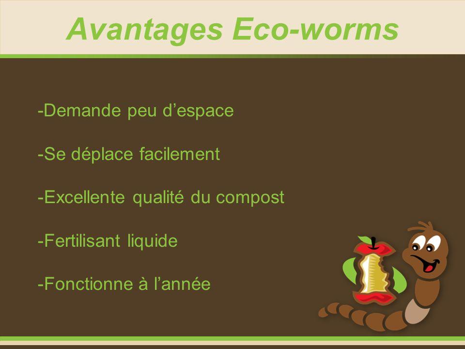Avantages Eco-worms -Demande peu d'espace Se déplace facilement