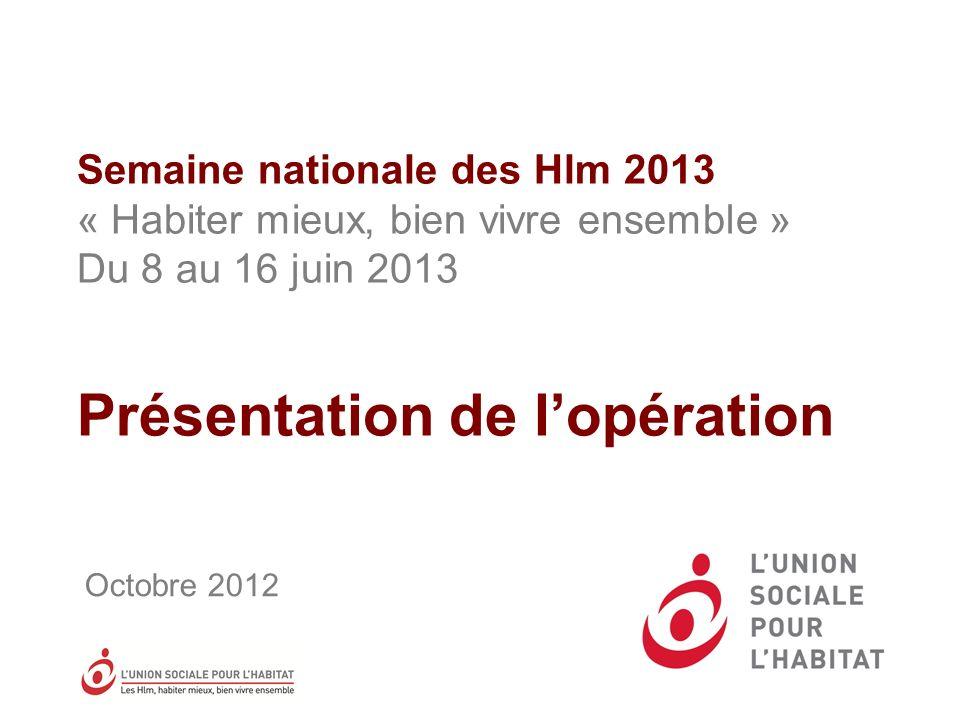 Semaine nationale des Hlm 2013 « Habiter mieux, bien vivre ensemble » Du 8 au 16 juin 2013 Présentation de l'opération