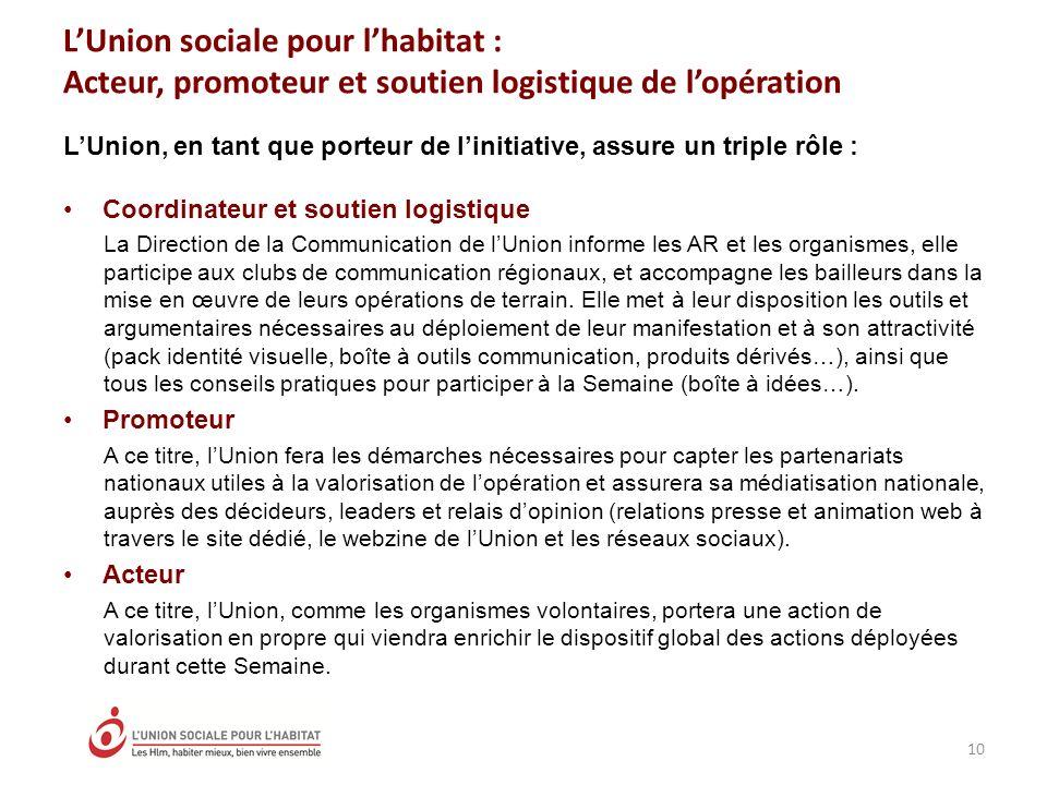 L'Union sociale pour l'habitat : Acteur, promoteur et soutien logistique de l'opération