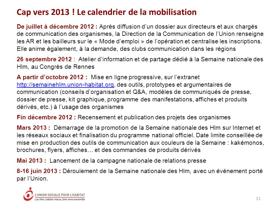 Cap vers 2013 ! Le calendrier de la mobilisation