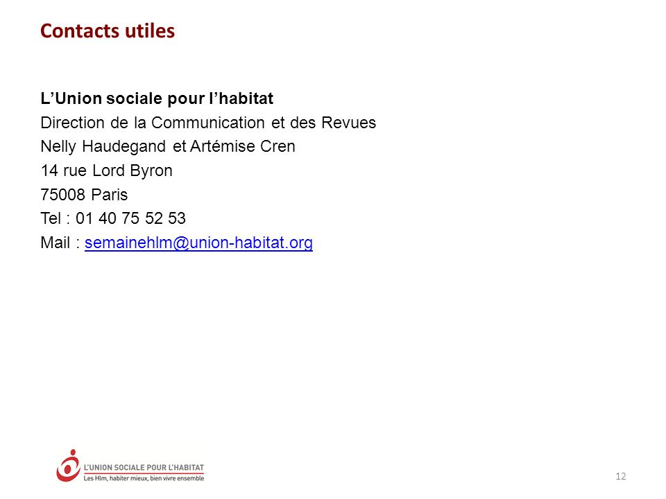 Contacts utiles L'Union sociale pour l'habitat