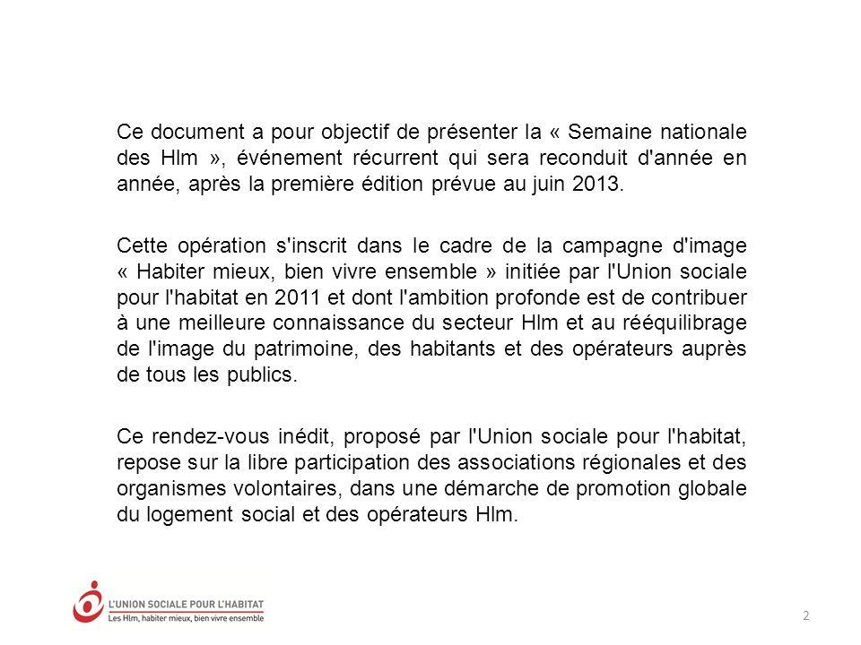 Ce document a pour objectif de présenter la « Semaine nationale des Hlm », événement récurrent qui sera reconduit d année en année, après la première édition prévue au juin 2013.