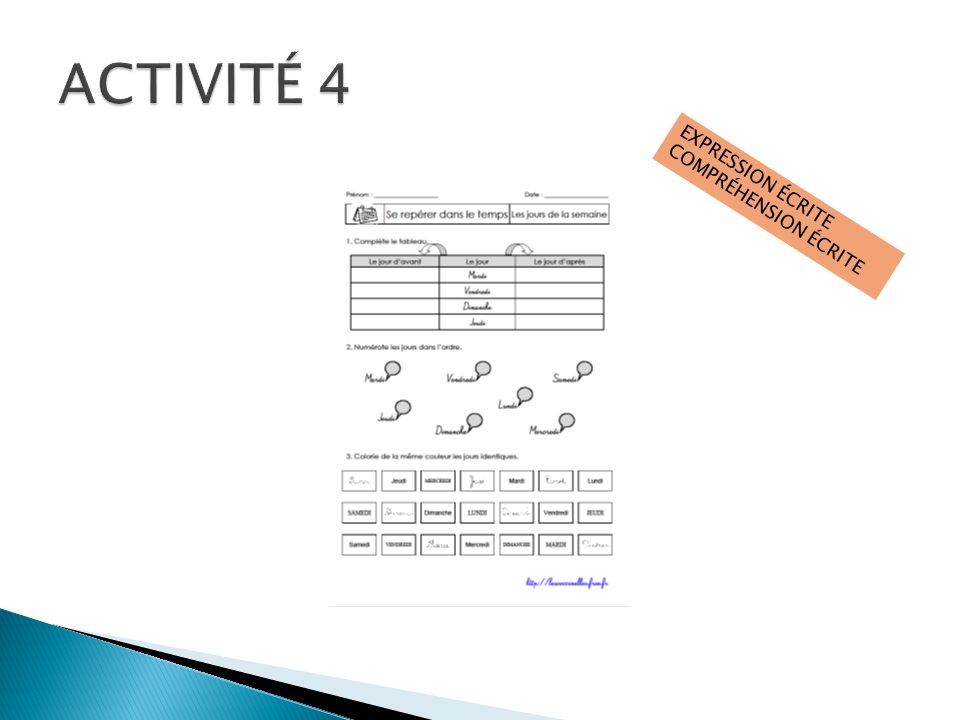 ACTIVITÉ 4 EXPRESSION ÉCRITE COMPRÉHENSION ÉCRITE