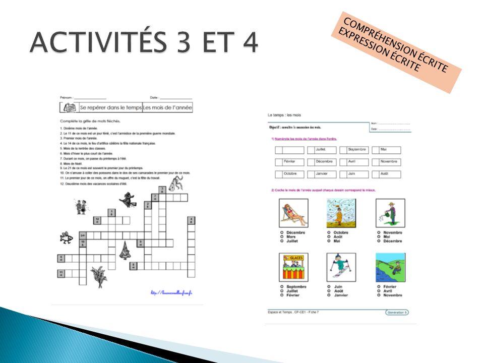 ACTIVITÉS 3 ET 4 COMPRÉHENSION ÉCRITE EXPRESSION ÉCRITE