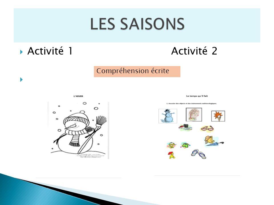 LES SAISONS Activité 1 Activité 2 Compréhension écrite