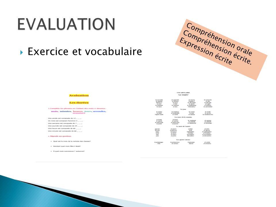 EVALUATION Exercice et vocabulaire Compréhension orale